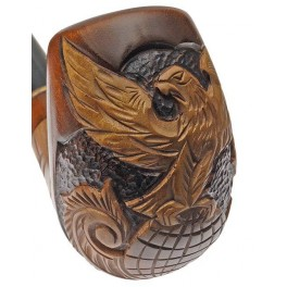Hand Carved 5.6 inch Tobacco Smoking Pipe Eagle on Globe