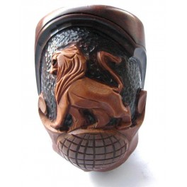 Authors Tobacco Smoking Pipe 7.2 inch Hand Carved  Lion on Globe