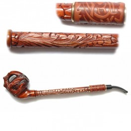 Leather 15.7 inch Design Unique Hand Carved Long Smoking Pipe Hookah Claw