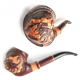 * Scorpion * Hand Carved Wooden Tobacco Smoking Pipe, Handmade Pipe for 9 mm filter